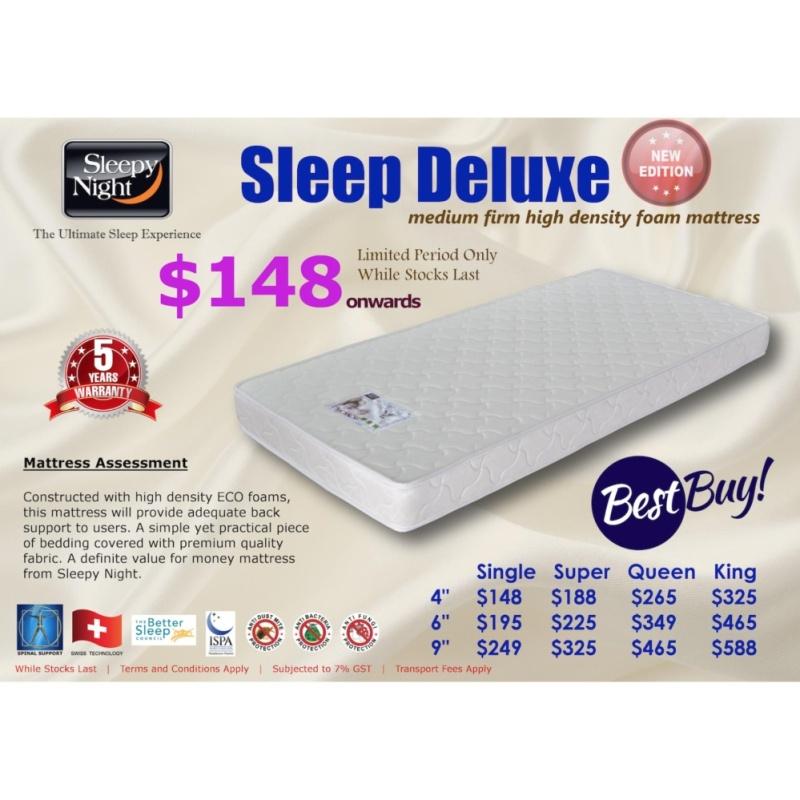 Sleepy Night Sleep Deluxe High Density Foam Mattress, Single 4 (FREE DELIVERY)