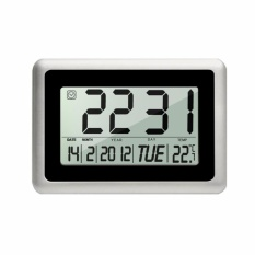Slim Large LCD Alarm Clock Digital Calendar Day Clock Wall Clock Silent Desk Shelf Clocks Battery Operated for Home Office-Black(12 Inch,Alarm & Snooze,Timer & Temperature Function) - intl
