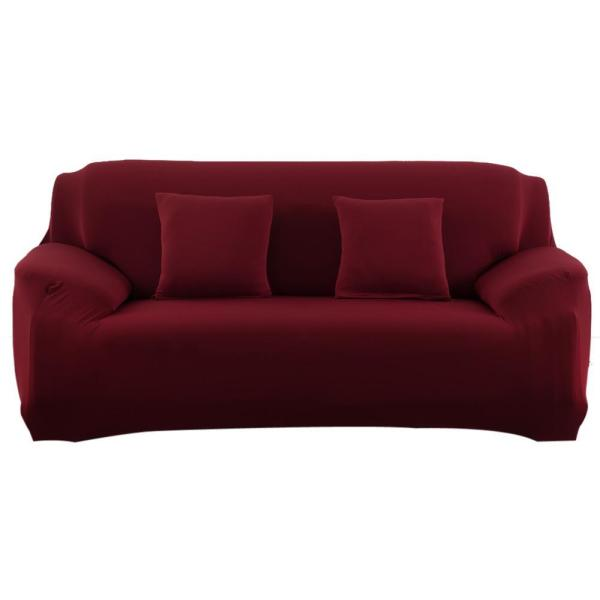 Uebfashion Slipcover Stretchable Pure Color Sofa Cushion Cover (Loveseat Wine Red) - intl