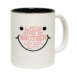 List Price Smile Because Your My Brother Ceramic Mug Slogan Funny Cup With Black Interior Intl Oem