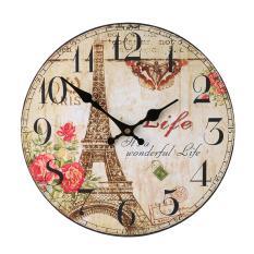 SOBUY Wood Vintage Wall Clocks for Decorative Living Room, Eifel Tower Pattern 12 Inch