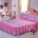 Cheapest Soft Cotton Bed Skirt Bedsheet Bedclothes Plaid Pattern 25 Pink Gray Intl