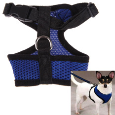 Soft Mesh Dog Harness Pet Puppy Cat Clothing Vest Blue M By Crystalawaking