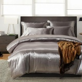 Recent Soft Silky Satin 3Pcs Duvet Cover Sets Include 1Pc Duvet Cover 2Pcs Pillowcases Intl