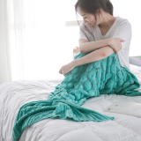 Buy Soft Warm Sofa Bedroom Living Room Blanket Knitting Wool Fish Scale Mermaid Tail Blanket Green Online