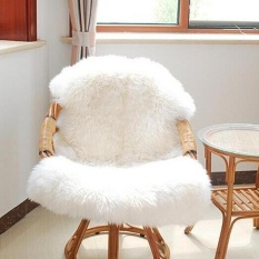 Price Soft Wool Seat Pad Cover Carpet Plain Sheepskin Plain Bedroom Rug 75 106 Cm Intl On China