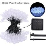 Solar Power 50 Led String Fairy Light 2V 160Ma Water Drop Shape Lamp Wedding New Year Decoration Christmas Tree Party Ornament 8 Modes Flash 600Ma White Shopping