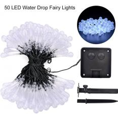 Sale Solar Power 50 Led String Fairy Light 2V 160Ma Water Drop Shape Lamp Wedding New Year Decoration Christmas Tree Party Ornament 8 Modes Flash 600Ma White Oem Branded