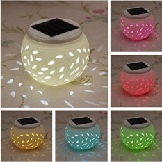 Solar Powered Ceramic Color Changing Table Lights Garden Solar LED Light Waterproof for Party Decoration Night Lamp - intl