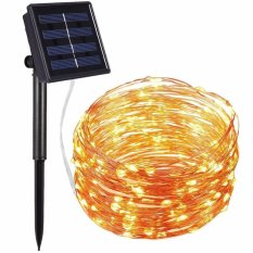Review Solar Powered String Lights 100 Led Copper Wire Lights Starry String Lights Indoor Outdoor Waterproof Solar Decoration Lights For Gardens Home Dancing Party Warm White Intl China