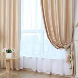 Buy Solid Grommet Window Curtain Foam Lined Blackout Thermal Treatment Beige Oem Online