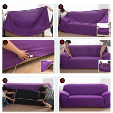 Solid Stretch Sofa Covers Tight Wrap Soft Slipcovers Elastic Couch Cover For Double Seats - intl