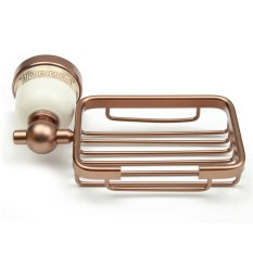 Space Aluminum Bathroom Wall Mounted Shower Soap Box Dish Holder Storage Basket Rose Gold Intl Shopping