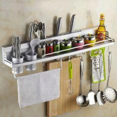 Space Aluminum Kitchen Wall Mounted Multifunctional 60cm Storage Rack (have Fence) (Intl) - intl