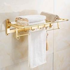 Space Aluminum Towel Rack, European Towel Rack, Foldable, Double Layer, Gold,58*23*15cm - Intl By Manna-C.