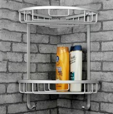 Space Aluminum Wall Mounted 2-Tier Triangle Basket Corner Basket Rack By Big House.