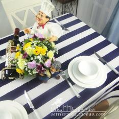 Promo Dark Blue Striped Tablecloth Fabric