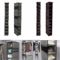 sqamin Home Hanging Clothes Storage Box (10 Shelving Units With Zipper) Durable Accessory Shelves Friendly Closet Cubby, Sweater Handbag Organizer - intl