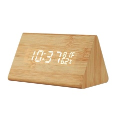 sqamin Pawaca Digital Calendar Time Clock Temp Humidity with LED Display,Triple Alarm,USB Charing,Battery Buck UP,Voice Control-Rectangle,Brown Font - intl