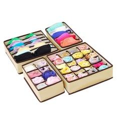 sqamin Set Of 4 Foldable Drawer Dividers Storage Boxes Bra Underwear Organizer Drawer Divider (Pink) - intl