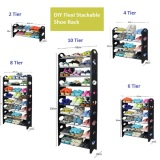 Sale Stackable Diy 10 Tier Black Shoe Rack