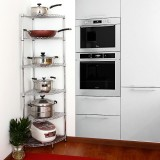 Purchase Stainless Steel Color Fan Storage Rack Kitchen Shelf Online