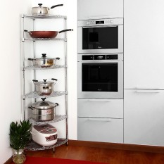 Best Rated Stainless Steel Color Fan Storage Rack Kitchen Shelf