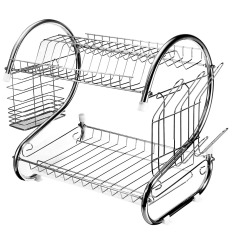 Stainless Steel Dish Rack 2 Tier Space Saver Dish Drainer Drying Holder Sliver Cheap