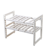 Stainless Steel Double Under Sink Rack Can Be Retractable Kitchen Shelf Storage Wash Station Glove Finishing Rack Price