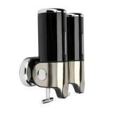 Review Stainless Steel Double Wall Mount Shower Pump Shampoo Dispensers Black Intl Oem