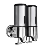 Stainless Steel Double Wall Mount Shower Pump Shampoo Dispensers Silver Intl Shop