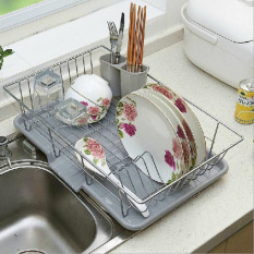 Sales Price Stainless Steel Kitchen Water Drip Dish Drainer Drying Holder Storage Holders Rack Cutlery Shelf Fruit And Vegetable Dish Rack Set Drying Utensil Space Saver A 48X30 5X11Cm Intl