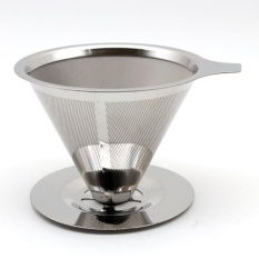 Sale Stainless Steel Reusable Drip Cone Coffee Filter Diameter 125Mm Intl Oem On China