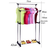 Buy Stainless Steel Simple Clothes Hanging Rod Double Pole Height Adjustable Intl Oem Online