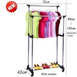 Get The Best Price For Stainless Steel Simple Clothes Hanging Rod Double Pole Height Adjustable With Wheels Intl