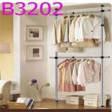 Standing Pole Clothes Hanger Rack Double Rod Stainless Steel B3202 Lower Price