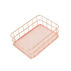 Storage Basket Copper Wire Bathroom Shelves Makeup Organiser Gold Brush Pen Holder Wire Mesh Bathroom Toiletries Storage Basket - 17*12*6cm