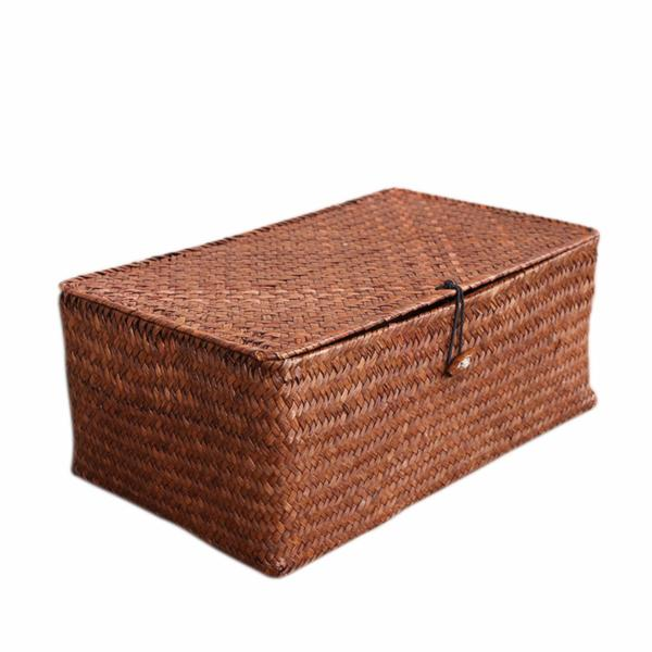 Straw Basket Organizing Storage Box - Dark Brown Large Size