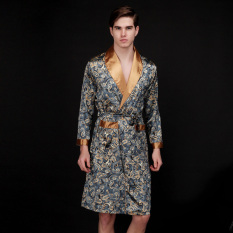 Price Spring And Summer Men S Ice Silk Pajamas Long Section Nightgown Autumn Home Service Spring And Autumn Thin Section Casual Bathrobe Oem New