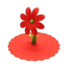 Sunflower Dustproof Reusable Silicone Cup Lid Insulation Cup Cover (Red) - intl