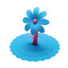 Sunflower Silicone Cup Lid Insulation Cup Cover Reusable(Blue) - intl
