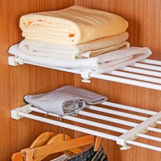 Sunking 46-70cm Telescopic Storage Rack Wardrobe Bathroom Kitchen Storage Cabinet Organizer Rack - intl