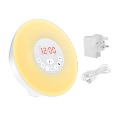 Coupon Sunrise Simulation Wake Up Light Multi Functional Alarm Clock Uk Plug Intl