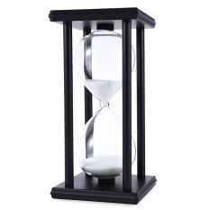 Sunyoo- High Quality 30 Minutes Time Counter Hourglass Sand Timer Retro Wooden Sandglass Clock Black Frame White Sand - intl
