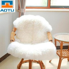 Super Soft Faux Sheepskin Chair Warm Hairy Floor Carpet Seat Pad Plain Skin Fur Plain Fluffy Area Rugs Washable Bedroom Mat - intl