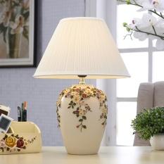 Table Lamp Bedroom Bedside European Style Lamp Simple Modern Wedding desk lamp Warm Light wedding Decoration Light Dimmable 33*46cm (Energy Class A++) - intl
