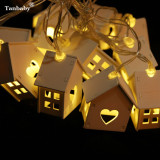 For Sale Tanbaby 1 5Meters 10 Leds Warm White Wooden House Battery Powered Led String Lights Wood Love Heart Party Decoration Star Fairy String Lighting For Indoor Bedroom Christmas Dawali Wedding Garden Party