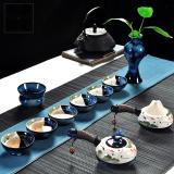 Latest Tea Set Home Ceramic Kung Fu Tea 6 People Whole Sets Simple Hand Painted Tureen Side The Teapot Cup Set