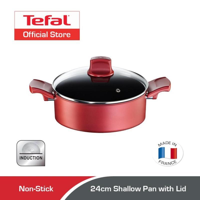 Tefal Character Shallow Pan w/Lid 24cm C68270 Singapore