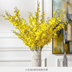 The living room decoration decoration Home Furnishing simulation silk flowers yellow dancing orchid orchid simulation - intl